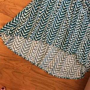 Dresses - Teal printed high-low cotton dress